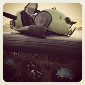 The cockpit after landing