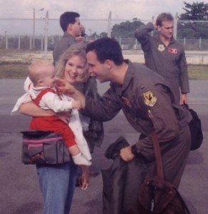 Mike returning from a deployment in the F15, greeting Jack.